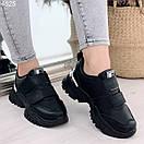 Черные женские кроссовки из экокожи на двух липучках BO4825, фото 3
