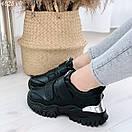 Черные женские кроссовки из экокожи на двух липучках BO4825, фото 4