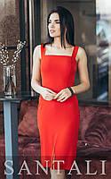 Приталенное платье на бретелях с квадратным вырезом и разрезом спереди 45mpl1490, фото 1
