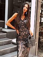 Вечернее длинное платье из черное сетки с пайетками на подкладе без рукава 66mpl1500Е
