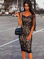 Черное платье из сетки с узорами из пайеток длиной миди 66mpl1502Е, фото 1