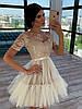 Короткое платье с фатиновой пышной юбкой и кружевным верхом с коротким рукавом 66mpl1504Е