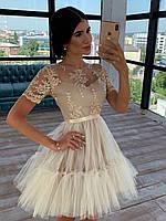 Короткое платье с фатиновой пышной юбкой и кружевным верхом с коротким рукавом 66mpl1504Е, фото 1