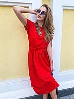 Длинное летнее свободное платье с поясом на талии и коротким рукавом 73mpl1510, фото 1