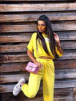 Женский летний спортивный костюм с укороченной футболкой и штанами на манжетах 5msp1016