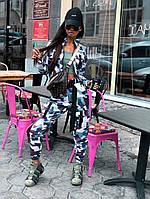 Женский брючный костюм милитарми с мастеркой на молнии и штанами джоггерами 66mko1025Е, фото 1
