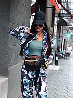 Женский брючный костюм милитарми с мастеркой на молнии и штанами джоггерами 66mko1025ЕR