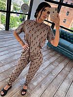 Принтованный женский брючный костюм двойка со свободной футболкой 66mko1032Q, фото 1