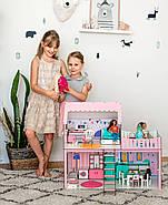 """""""ЛЮКС МИНИ New"""" кукольный домик NestWood для Барби, без мебели, розовый, фото 5"""