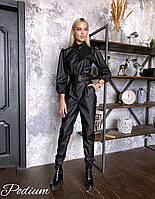 Кожаный женский комбинезон на пуговицах с длинными рукавами - фонариками 27mko1041, фото 1