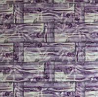 Самоклеющаяся декоративная 3D панель для стен Бамбуковая кладка фиолетовая