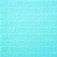 Самоклеющаяся декоративная 3D панель для стен Кирпич бирюза