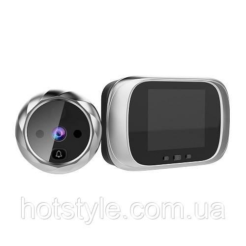 Видеоглазок цифровой с экраном 2.8″ для входной двери c подсветкой и звонком, 104931