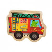 Деревянная игрушка Пазлы MD 2283 (Пожарная машина)