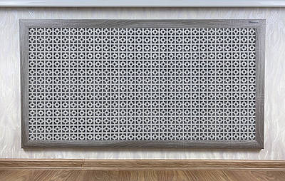 "Решетка на чугунную батарею ""Стандарт"", 68 см х 128 см, цвет серый Эфес"