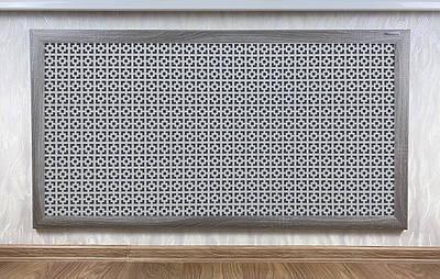 "Решетка на чугунную батарею ""Стандарт"", 68 см х 98 см, цвет серый Эфес"
