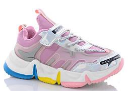 Детские кроссовки на липучках, последний размер 37, замеры в описании (Розовые)