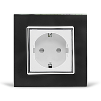 Розетка с заземлением Livolo черный белый хром стекло (VL-C7C1EU-12/11C)