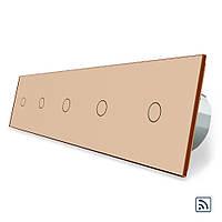 Сенсорный радиоуправляемый выключатель Livolo 5 канала (1-1-1-1-1) золото стекло (VL-C705R-13), фото 1