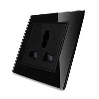 Универсальная розетка Livolo 13 стандартов в 1 черный стекло (VL-C7C1C-12)