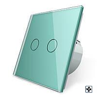 Сенсорный выключатель Livolo для ванной комнаты свет и вытяжка зеленый стекло (VL-C702-2IH-18), фото 1
