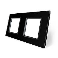 Рамка розетки Livolo 2 поста черный стекло (VL-C7-SR/SR-12)