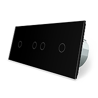 Сенсорний вимикач Livolo 4 канали (1-2-1) чорний скло (VL-C701/C702/C701-12), фото 1