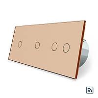 Сенсорный радиоуправляемый выключатель Livolo 4 канала (1-1-2) золото стекло (VL-C701R/C701R/C702R-13), фото 1