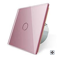 Сенсорный выключатель Livolo для вытяжки с таймером и датчиком влажности розовый стекло (VL-C701IH-17), фото 1
