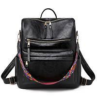 Сумка-рюкзак женская - эко-кожа Miyahouse (Черного цвета), городской / Жіночий рюкзак