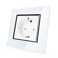 Розетка с заземлением Livolo белый хром стекло (VL-C7C1EU-11C)