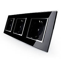 Розетка тройная с заземлением Livolo черный хром стекло (VL-C7C3EU-12C)