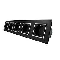 Розетка пятиместная с заземлением Livolo черный хром стекло (VL-C7C5EU-12C), фото 1