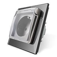 Розетка с крышкой IP44 Livolo серый стекло (VL-C7C1EUWF-15), фото 1