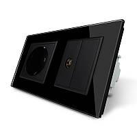 Розетка двухместная комбинированная Силовая ТВ Livolo черный стекло (VL-C7C1EU1VK0-12)