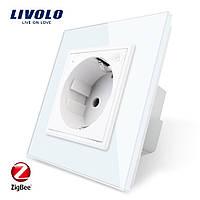 Wi-Fi розетка с заземлением Livolo 16А с шторками белый стекло (VL-C7C1EUZ-11)