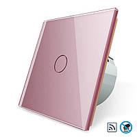 Бесконтактный радиоуправляемый выключатель Livolo розовый стекло (VL-C701R-PRO-17), фото 1