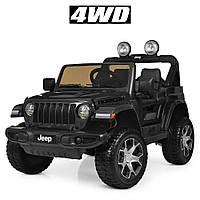 Детский электромобиль Джип M 4176 EBLR-2, Jeep Wrangler, колеса EVA, кожаное сиденье, черный