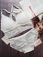 Женское бесшовное кружевное нижнее белье, размер 42-46( S/M) цвет белый