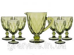 Набор стеклянных бокалов с Кувшином для вина  цвет- изумрудный 7 предметов
