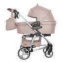 Универсальная детская коляска бежевая Carrellо Vista 2 в 1 люлька чехол на ножки матрасик сумка дождевик, фото 2