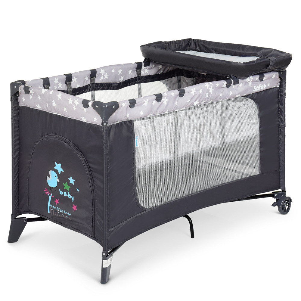 Манеж - кровать - пеленальный столик 3в1 El Camino Stars Gray арт. 1054
