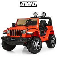 Детский электромобиль Джип M 4176 EBLR-7, Jeep Wrangler, колеса EVA, кожаное сиденье, оранжевый