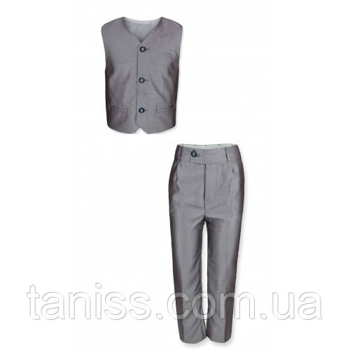 Класичний костюм для хлопчика, сірий, жилет + брюки ,з 1 до 6 років (підбирайте по сітці на фото)