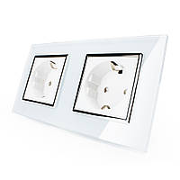 Розетка двойная с заземлением Livolo белый хром стекло (VL-C7C2EU-11C)