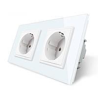 Розетка двойная с заземлением Livolo 16А белый стекло (VL-C7C2EU-11)