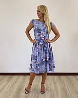 Легкое платье с поясом серо-синее