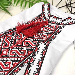 Вышиванка с красной вышивкой Орнамент-Волна