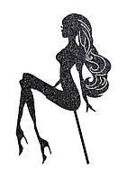 Сидящая девушка, Топпер силуэт девушка, топер сидящая девушка черная, силуэт девушки на торт, Топпер девушка