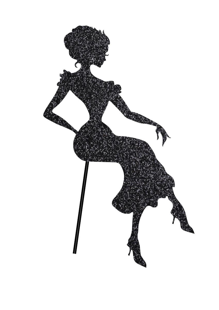 Топпер в торт , сидящая дама на кондитерской палочке,топперы силуэты 2 цвета